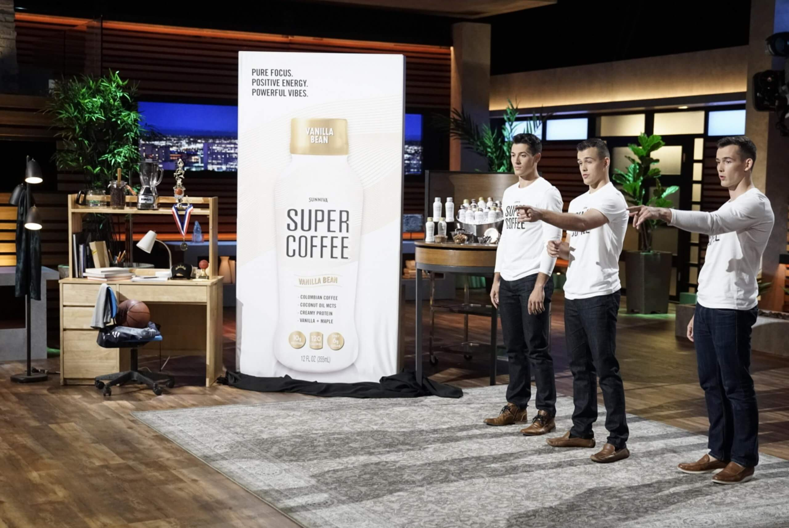 The DeCicco brothers pitching Super Coffee on Shark Tank